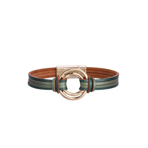Pulsera de cuero multicapa con hebilla magnética a juego con el color de la moda Pulsera fina