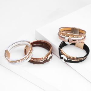 Pulsera de cierre magnético de diamantes con incrustaciones de tubo de cobre de múltiples capas