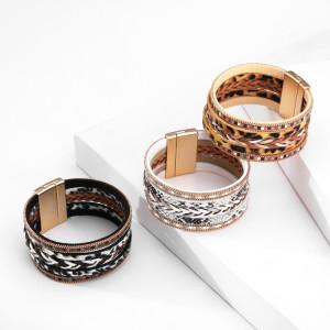 Многослойный кожаный плетеный леопардовый браслет с магнитной пряжкой и широким краем