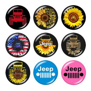 Стеклянные кнопки с принтом Jeep Print 20 мм