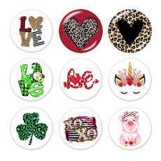 20MM love Print glass snaps buttons