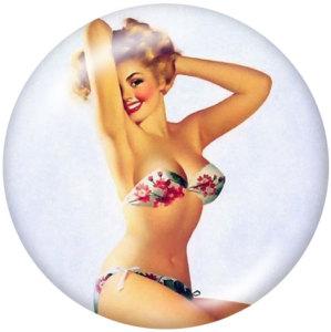 Стеклянные кнопки с принтом Lady 20 мм