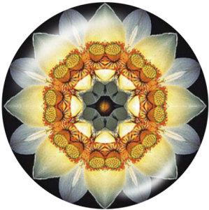 Botones a presión de vidrio con estampado de flores mandala de 20 mm