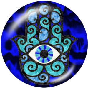 Botones a presión de vidrio con estampado de fe de ojo azul de 20 mm