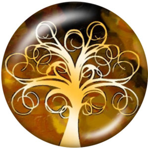 Botones a presión de vidrio con estampado de árbol de la vida de 20 mm