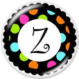 20MM Alfabeto botones a presión 26 palabras vidrio broches intercambiables joyería