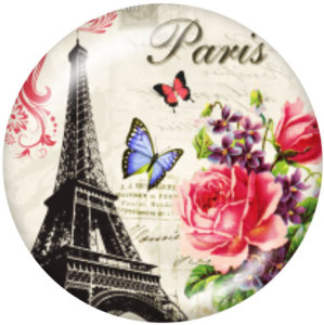 Botones a presión de vidrio con estampado de Torre Eiffel de 20 mm
