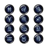 20MM Birthstone 12 constellations fond à pression en verre
