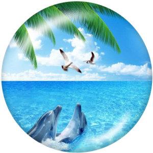 Botones a presión de vidrio con estampado de playa de 20 mm