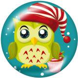 20MM Christmas Owl Print Glasschnappknöpfe