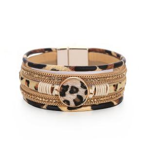 Pulsera de cierre magnético tejida a mano con patrón de leopardo de múltiples capas de pelo de caballo