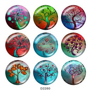 20MM生命の木プリントガラススナップボタン
