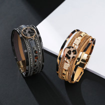Horse hair multilayer hand woven leopard pattern magnetic clasp Bracelet