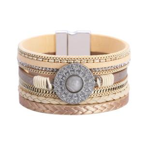 Multi layer leather clasp bracelet with diamond crystal bracelet