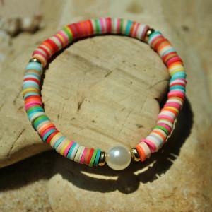Pulsera de perlas elásticas, color de mujer, cerámica suave, pulsera de amistad, estilo de playa