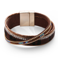 Horse hair jewelry inlaid with diamond multi-layer Leather Bracelet wrapped with buckle bracelet