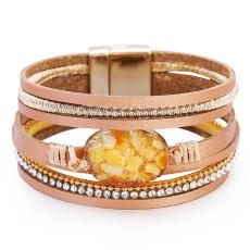 Multi layer crystal Genuine Leather Bracelet