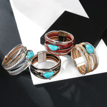 Multi layer leather Turquoise Beaded Bracelet