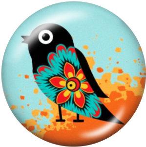 Стеклянные кнопки с принтом птиц 20 мм