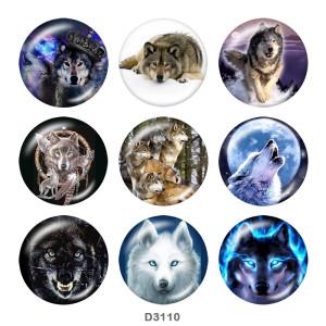 Стеклянные кнопки с принтом волка 20 мм