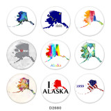 20MM Map Print glass snaps buttons