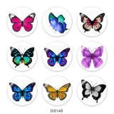 Boutons pression en verre imprimé papillon 20 MM