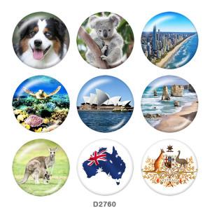 Стеклянные кнопки с принтом в Австралии 20 мм