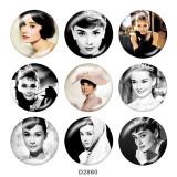 Botones a presión de vidrio Audrey Hepburn de 20 mm
