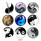20MM Taiji Print glass snaps buttons