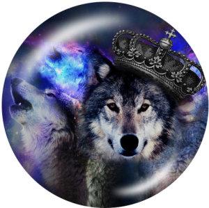 20MMオオカミプリントガラススナップボタン