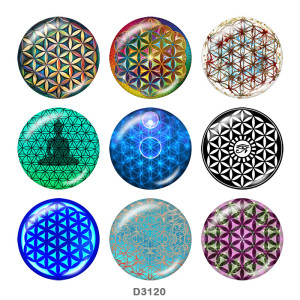 Стеклянные застежки-кнопки с принтом веры 20 мм