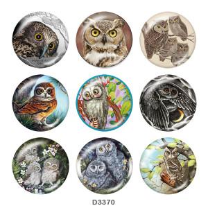 Стеклянные кнопки с принтом совы 20 мм