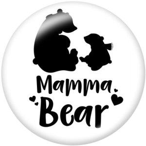 Botones a presión de vidrio con estampado de oso de mamá mamá de 20 mm