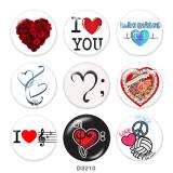 Стеклянные кнопки с принтом Love Print 20 мм