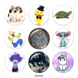 Botones a presión de vidrio con estampado de dibujos animados de animales de 20 mm