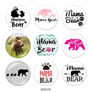 Стеклянные кнопки с принтом медведя-мамы 20 мм