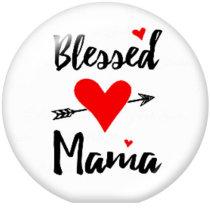 20MM MAMA NANA MIMIMOMファミリープリントガラススナップボタン
