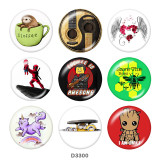 20MM cartoon Print glass snaps buttons