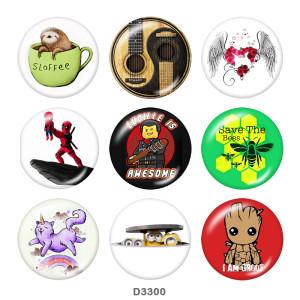 Стеклянные кнопки с принтом мультфильма 20 мм
