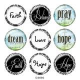 Botones a presión de vidrio con estampado de fe DREAM HOPE de 20MM