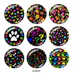Стеклянные кнопки с цветным принтом 20 мм