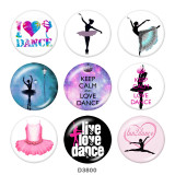 20MM dance   Print glass snaps buttons