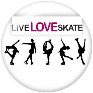 Botones a presión de vidrio con estampado de skate de 20 mm