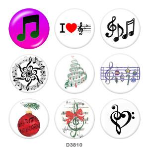 Botones a presión de vidrio con estampado de música de 20 mm