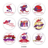 20MM Red hat Print glass snaps buttons