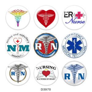 20MM Krankenschwester Medizinische Behandlung Drucken Sie die Druckknöpfe aus Glas