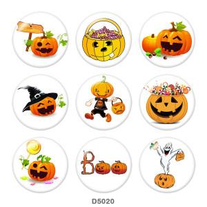 Boutons pression en verre imprimé Halloween 20MM