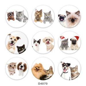 Botones a presión de vidrio con estampado de perros y gatos de 20 mm