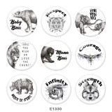 20MM  Eagle  Dog  Print glass snaps buttons