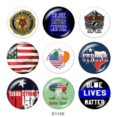 20MM  Flag  Print glass snaps buttons